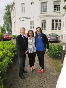 With Prof Bob Sparkes and Caitlin Pentifallo of UBC'S Centre for Sport at Sustainability while participating in IPC's forum on Paralympic Impacts and Legacies in Bonn, Germany.